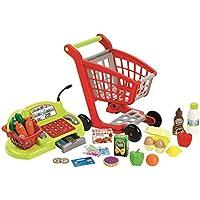 Ecoiffier - Jeux d'imitations - Supermarché - Chariot garni, caisse enregistreuse et stand du maraîcher