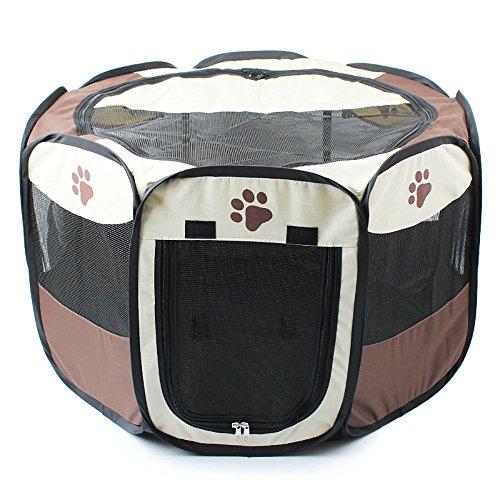 Gabbia pieghevole in tessuto per cane, gatto, coniglio, porcellino d'india, color caff&egrave, taglia s