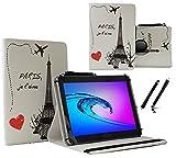 Case Cover für Aldi MEDION LIFETAB P10506 MD60036 Tablet Schutzhülle Etui mit Touch Pen & Standfunktion - 10.1 Zoll Paris Eifelturm 360