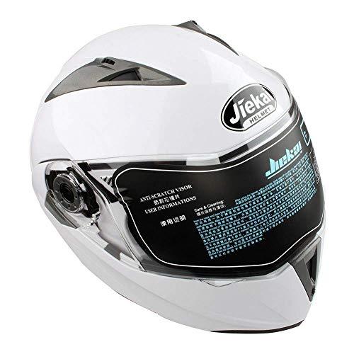 Casco de Moto Modular con Doble Visera para Ciclomotor Motocicleta y Scooter Cascos Integrales Mujer y Hombre L (Blanco)
