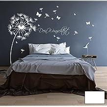 ilka parey wandtattoo-welt® adesivo da parete murale fiori farfalle parole proprie M1416 - colore selezionato : *bianco* formato selezionato: *M 120cm ampio x 130cm altamente*