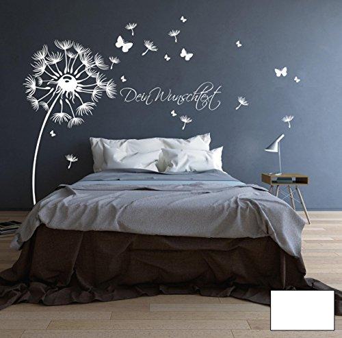 ilka parey wandtattoo-welt® Adesivo da Parete murale Fiori Farfalle Parole proprie M1416 - Colore selezionato : *Bianco* Formato selezionato: *XL 170cm Ampio x 180cm Altamente*