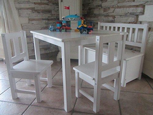 Best of JAM® Kindersitzgruppe aus europäischem Kiefernholz MASSIVHOLZ 1 Tisch 2 Stühle 1 Kindersitzbank mit Deckelbremse und Stauraum (WEIß)