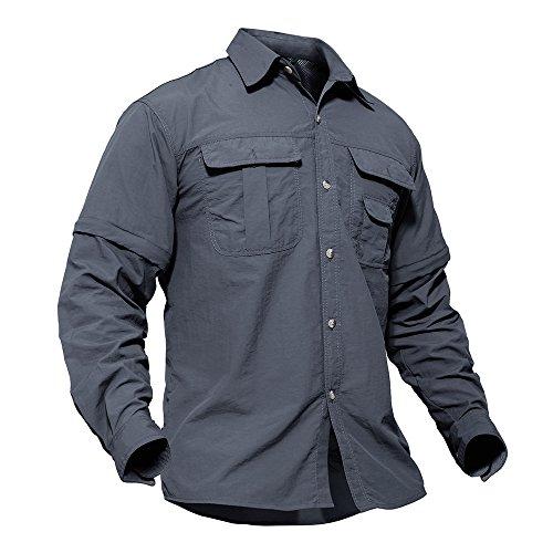TACVASEN Schnelltrocknendes Shirt Herren Hemd Leichtes Atmungsaktives T-Shirt Lange Ärmel Kurzarm Shirts Grau -