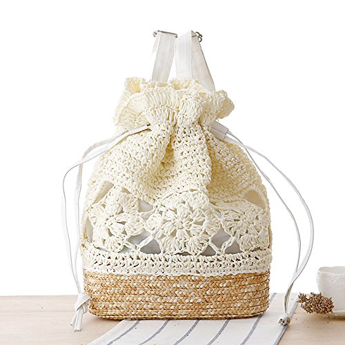 Mefly Schule Der Wind Manuelle Haken Blume Rucksack Stroh Beutel Gewebten Beutel Mori Lässige Handtasche Milky white