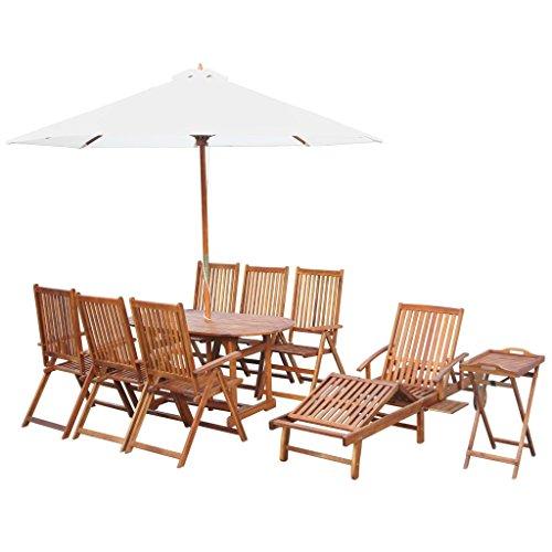 FZYHFA Set de Salle à Manger pour extérieur 10 PZ en Massif d'acacia Design Simple et Pratique, Durable et Stable Set de Table extérieur Table et chaises de Jardin