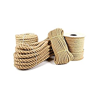 Asol Ø 22mm Ø Jute Rope 100% Pure Natural Jute Fibers Twisted Braided Decking, Boating, Home & Garden DIY (5 meters)