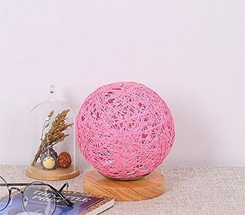 LikeIt Tischlampe Handgefertigte Rattan-gewebt für Schlafzimmer Wohnzimmer LED Nacht Nachttischlampe, rosa
