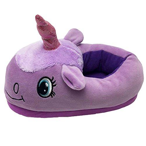 J&L Einhorn Weicher Plüsch Hausschuhe Slip Horn Slippers Hausschuhe für Erwachsene (Purple)
