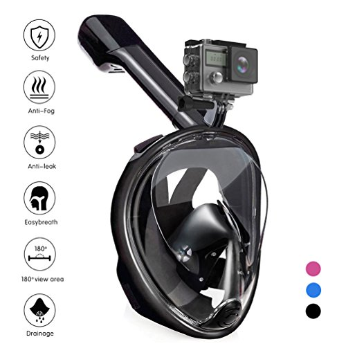 Tauchmaske, QcoQce Vollmaske Schnorchelmaske Vollgesichtsmaske mit 180° Sichtfeld, Dichtung aus Silikon Anti-Beschlag & Wasserdicht für Kinder und Erwachsene (Schwarz S/M)