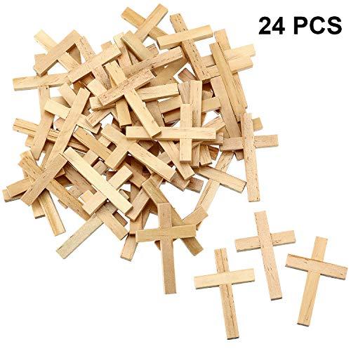 meekoo 24 Stücke Natürliche Holz Kreuz Holzkreuz Anhänger Mini Kreuz Perlen für DIY Handwerk Schmuck Herstellung