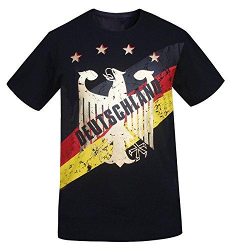 Deutschland Camiseta Estampada con Estampado de Oro de Alemania Hombre Look Vintage (Tamaño:M)