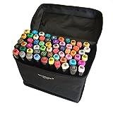 Authentic TouchNew 60 Farben Animation Design Marker Pens für Anfänger, Breit und Fein Punkte mit Aufbewahrungstasche, T Tocas, Schwarz