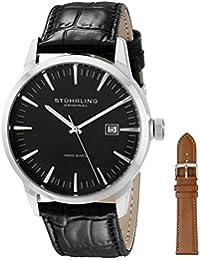Stührling Original 555A.01 - Reloj analógico para hombre, correa de cuero, color negro