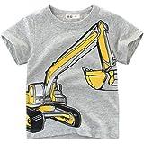 BenCreative Ropa de Verano para niños Camiseta de Manga Corta de algodón Niños Niñas Excavadora Imprimir Camiseta