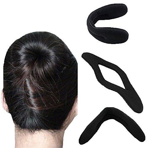 RotSale® 3x Hair- / Haartwister Dreher Inhaber Schwamm Frisurenhilfe Band Dutt Brötchenhersteller Schwarz Twister