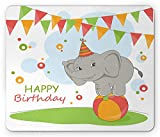 Casepillows Elephant Mouse Pad, Happy Birthday Slogan with Circus Animal Balancing on a Ball Children Cartoon, Standard Size Rectangle Non-Slip Rubber Mousepad, Multicolor
