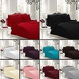 NON IRON Luxury Parcale Plain Dyed 16 Colours Duvet Cover & Pillow Cases Bed Set Free Post (King, Black)