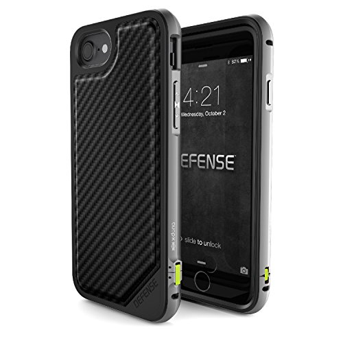 X-Doria 449366 Defense Lux Coque de protection en aluminium Bleu/doré Pour Apple iPhone 7  Fibre de carbone noir