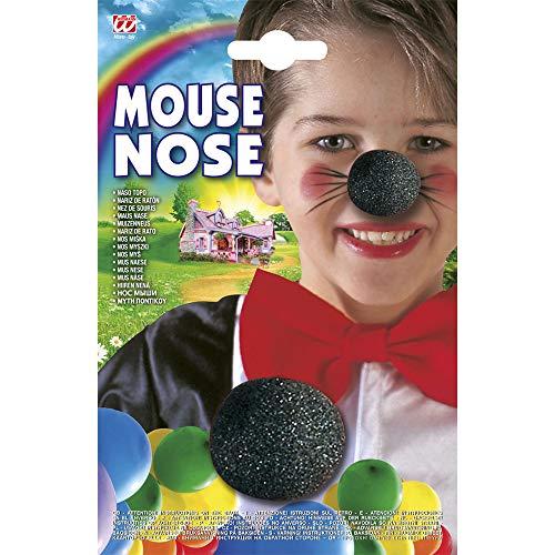Widmann 2286T Mausnase für Kinder, schwarz, one Size (Magic Mickey Mouse Kostüm)