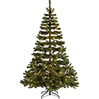 WeRChristmas Pre-Lit Virginia Pine Multi-Function Christmas Tree with 300 Warm White LED Lights, Green, 7 feet/2.1 m