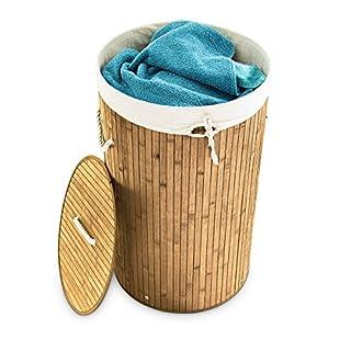 Relaxdays Wäschekorb Bambus Rund Ø 41 cm, Faltbare Wäschetruhe, Volumen 80 Liter, Wäschesack aus Baumwolle, Natur