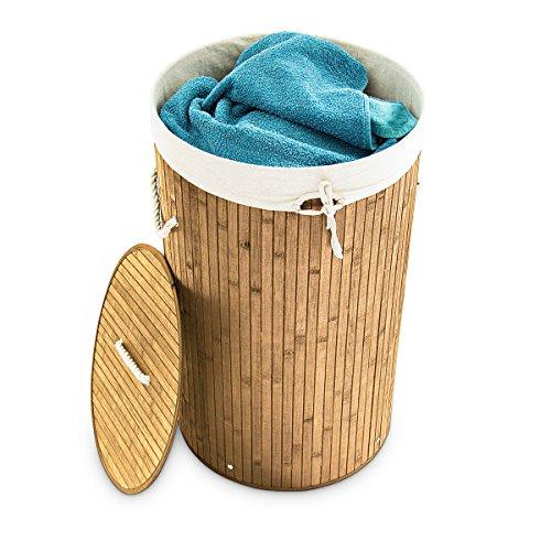 Relaxdays Cesto para ropa sucia de bambú, Redondo, Plegable, Estrecho, Con tapa, Capacidad 80 L, Diámetro 41 cm, Natural