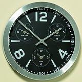 Moderne Wanduhr Rund Silber Kontur drei zusätzlichen Zeitzonen