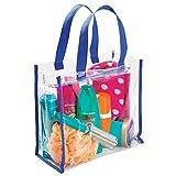 mDesign Reisetasche für Accessoires – Tasche für Strand, Pflegeprodukte oder Kosmetik – Tragetasche transparent/navyblau