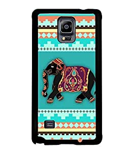 Fuson Premium Elephant Art Metal Printed with Hard Plastic Back Case Cover for Samsung Galaxy Note 4 N9100