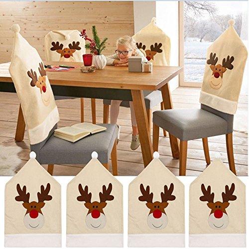 Sixcup 4 PCS Hirsch Hut Weihnachten für Weihnachten aus Filz 1PCS Elch Stuhlhusse als Weihnachtsdeko Deko Stuhlschoner für Weihnachten StuhlhülleWeihnachtsmützen Stuhlüberzug (50x60cm, Rentier Beige)