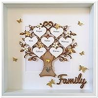 Gold Personalisierte Stammbaum 3D Box Frame Andenken Hochzeit Weihnachten Weihnachtsgeschenk (maximal 14 Namen)