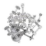Baoblaze 20 Stück Legierung Fitnessgeräte Form Anhänger Charms Beads für Beuteldekoration, Schlüsselcharme, Telefon hängende Dekoration