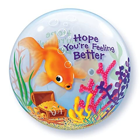 Feeling Better Fish Bowl 22 Qualatex Bubble Balloon by Get Well Balloons
