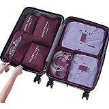 Leoyee Maleta Organizador Cubos de Embalaje para Mochila, Set de 7 alforjas Organizador de Viaje 3 Cubo de Embalaje + 4 Bolsas de lavandería para Zapatos de Ropa Cosméticos (Vino Tinto)