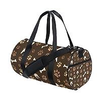 TIZORAX Cat Dog Paws Footprints And Bones Brown Gym Duffle Bag Drum tote Fitness Travel Bag Rooftop Rack Bag