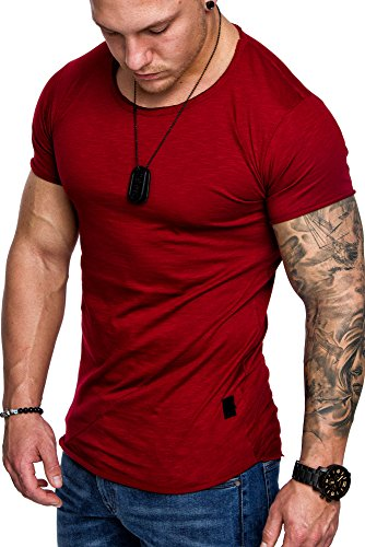Amaci&Sons Oversize Herren Vintage T-Shirt Stitched Crew Neck Rundhals Basic Shirt 6010 Bordeaux M