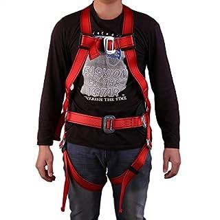 Homgrace Absturzsicherung 3-Punkt Vollkörper Auffanggurt Fallschutz Geschirr Safety Dachdeckerset Fallsicherung mit Rückenstütze, 300kg Tragfähigkeit, Rot