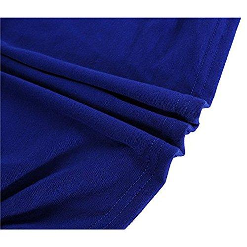 Juleya Donna Maglietta Camice oversize in cotone Camicetta a maniche corte Camicia girocollo sexy Top larghe Magliette a pipistrello Pullover Morbido Confortevole 10 colori S-5XL Blu