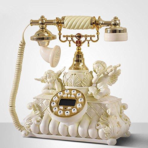 GUOJINE Classic Telefon Antik Vintage Massivholz Handgefertigt Vintage Antik Home Wohnzimmer Büro Festen Sitz Retro Vintage Antik Stil Blume Home Decor Schreibtisch Telefon - Handgefertigte Massivholz