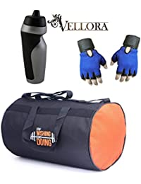 VELLORA Polyester Long Lasting Material, Duffel Gym Bag Blue With Penguin Sport Sipper, Gym Sipper Water Bottle... - B07F2N14BY