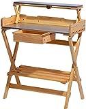dobar 57015e tavolo grande piantagione di 2 piani di lavoro in metallo zincato e un pratico cassetto, pieghevoli, 80 x 40 x 100 cm