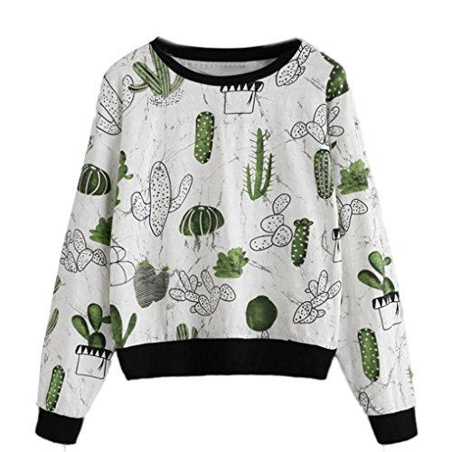 Momola Teen Girls Tops Cactus Printing Round Neck Sweatshirt T-Shirt Spring Casual Women Clothing (S) White