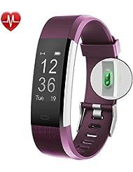 Pulsera Actividad Pulsera Inteligente con GPS, IP67 Impermeable Pulsera Móvil Monitor de Ritmo Cardíaco, Sueño, Control de Musica y Cámara, Reloj Inteligente para iOS y Android Purpura