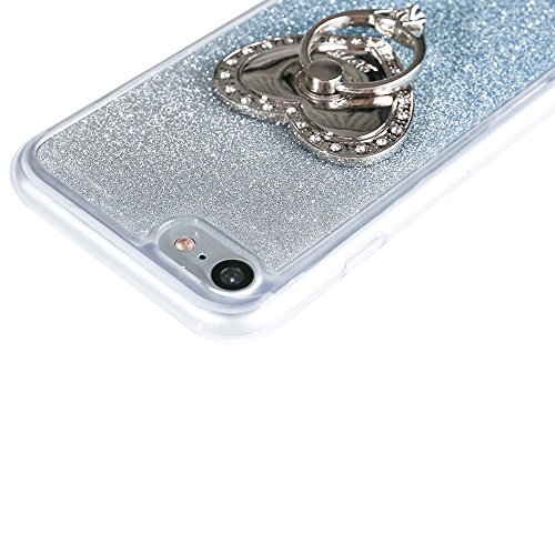Custodia Per iPhone 7 Plus,Funyye Glitter Brillare Oro Rosa Graduale Cambiano Colore Stile Cover Con [Pellicola Protettiva + Anello Supporto] Morbido Sottile Silicone Gomma Gel TPU Protettivo Caso Ori Design #12
