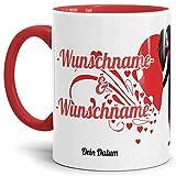 Tasse zur Hochzeit mit eigenem Namen und Datum Personalisierbar - Innen & Henkel Rot - / Hochzeits-Feier/Geschenk / Liebe/Love / Herz/Mug / Cup Qualität - 25 Jahre Erfahrung