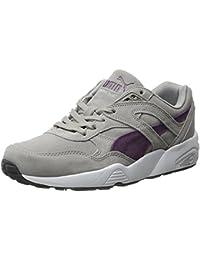 Puma Men's R698 Allover Suede Trinomic Shoe, Drizzle/Italian Plum/White, 42 D(M) EU/8 D(M) UK