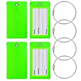 BlueCosto Luggage Tag Suitcase Bag Label Flexible PVC - Fluorescent Green, 4 Pieces