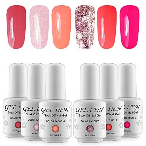 Gellen Gel Nail Polish Colours Gift Set UV LED Gel Nail Varnish 6 Colours 8ml Nail Art Kit, 15