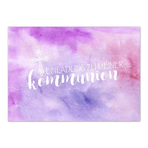 15 x Einladungskarten Kommunion mit Umschlag / Für Mädchen Rosa Pink Modern / Kommunionskarten / Einladungen zur Feier